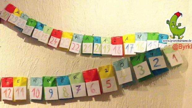 30 bunte Papiertüten nummerieren und an einer Schnur aufhängen und fertig...