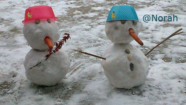 Schneemänner von Norah gebaut