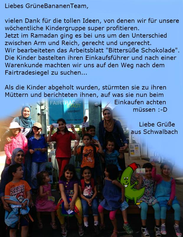 Schokolade Fairtrade Kinderarbeit - eine Kindergruppe aus Schwalbach berichtet von ihrer tollen Aktion