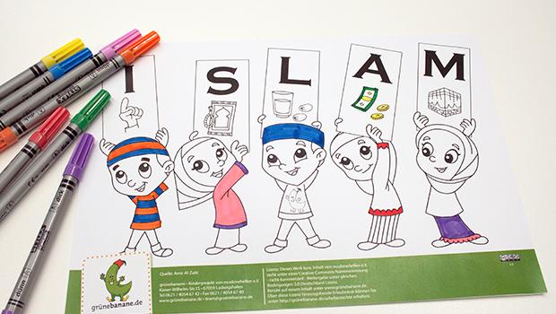 Die 5 Säulen des Islams als Ausmalbild für muslimische Kinder