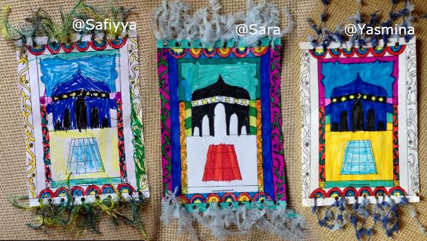 Safiyya, Sara und Yasmina mit ihren bunten Teppichen