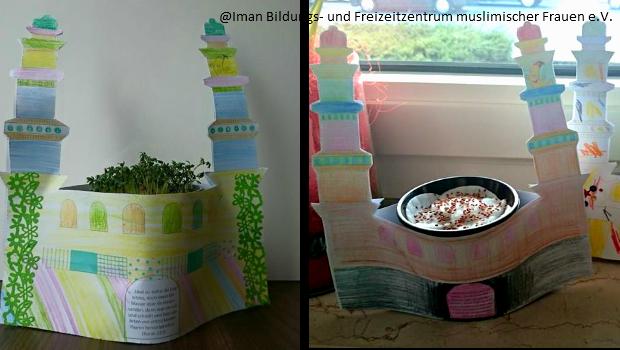 Das Iman Bildungs- und Freizeitzentrum muslimischer Frauen e.V. hat im Bastelcafé mit Kinder Moscheen für den Frühling gebastelt