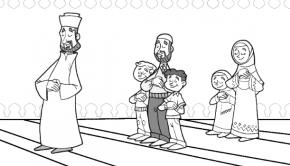 Das Gemeinschaftsgebet im Islam als Ausmalbild für muslimische Kinder von Amir Al Zubi