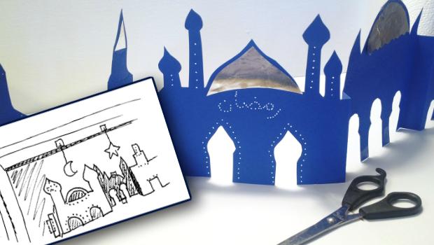 Fensterdekoration Ramadan Moschee Lichterkette