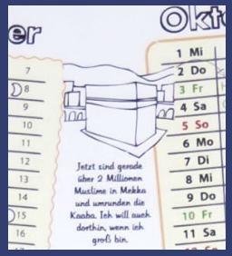 Wann ist das Opferfest, wann ist die Hadsch - alles auf einen Blick sofort erkennbar im Schülerkalender