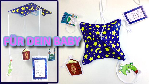 Ein muslimisches Mobilee ist eine Dekoration für das Babybett