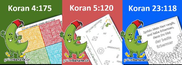 3 Verse aus dem Koran mit dazu passenden Rätsel- und Ausmalbildern