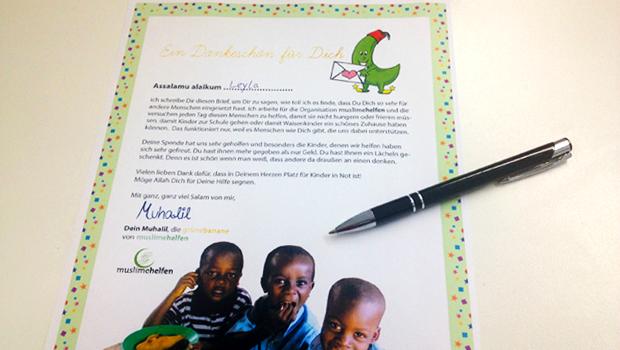 Ein Brief um kleinen Spendern danke zu sagen für ihre Hilfe für Waisen und andere Kinder in Not