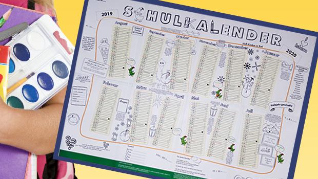 Schülerkalender von August 2019 bis Juli 2020